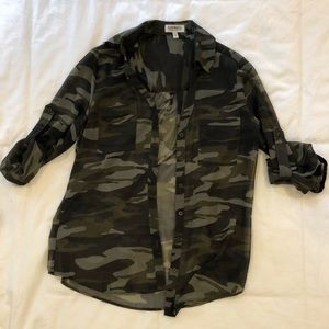 Express Sheer Camo Button Down Top